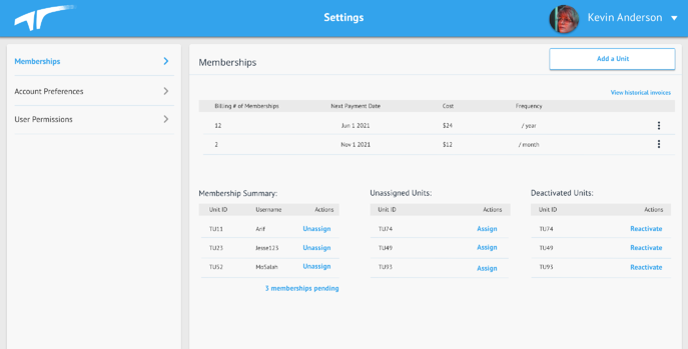 Desktop - Settings - Memberships