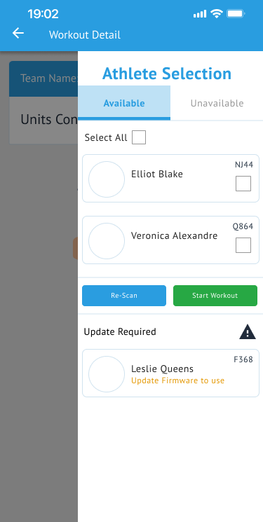 Mobile - Live Workout Coach View - Athlete Drawer - Available