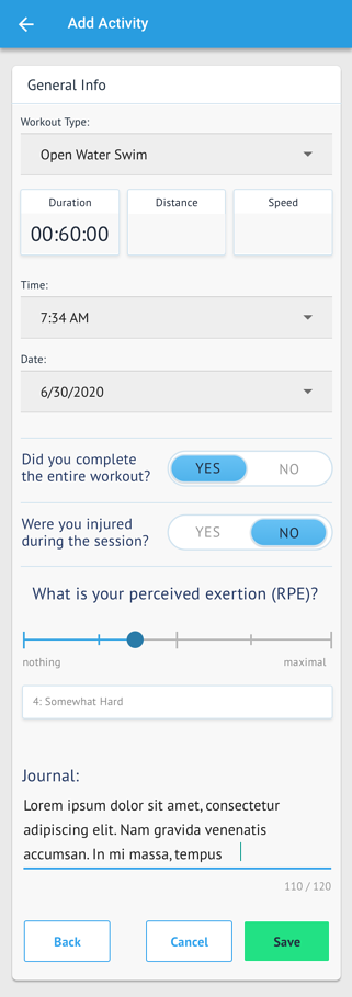 Mobile - add workout
