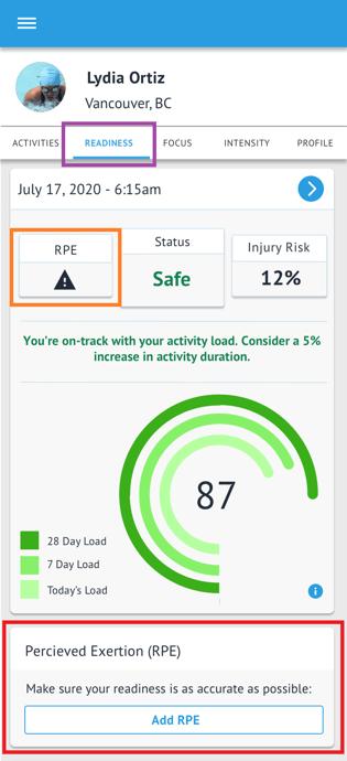Triton Score - Athlete Profile - READINESS - RPE missing