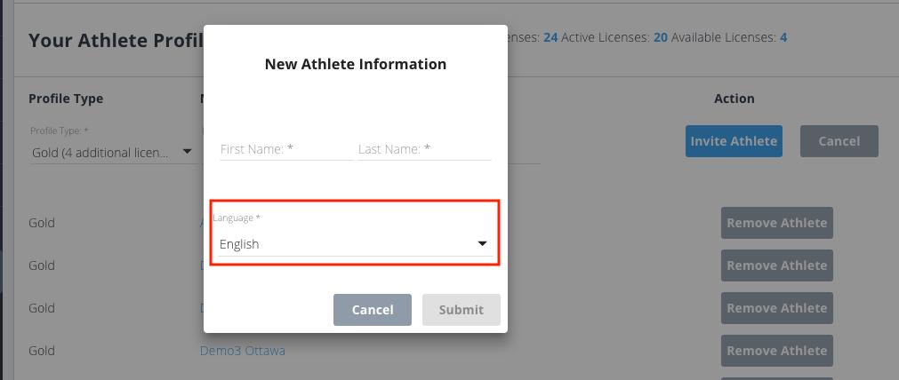 Language invite athlete